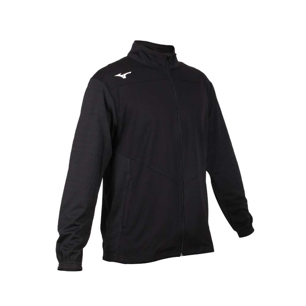 MIZUNO 男針織運動外套-吸濕速乾 抗UV 慢跑 立領外套 美津濃 32TC053399 黑深灰白