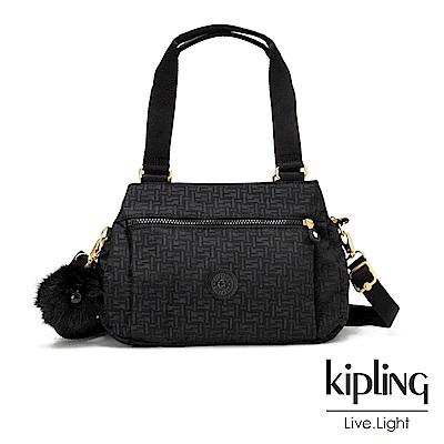 Kipling黑色幾何紋路梯形手提側背包-ORELIE