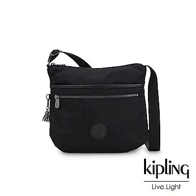 Kipling 極致低調黑前拉鍊側背包-ARTO