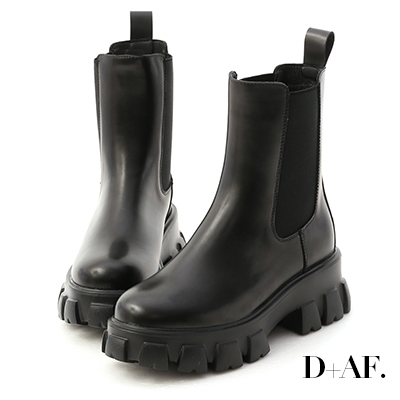 D+AF 暗黑焦點.超輕量切爾西鋸齒靴*黑