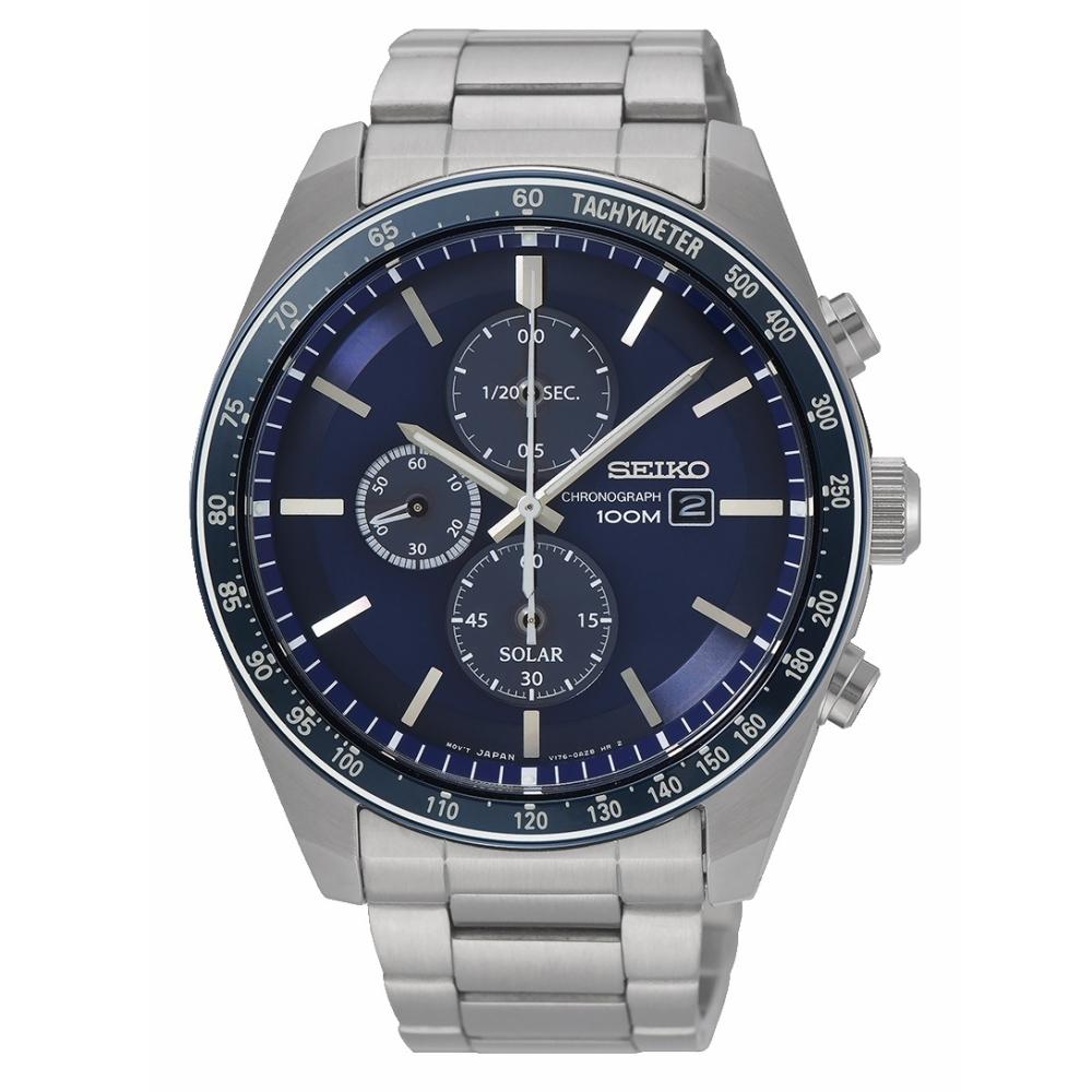 SEIKO Criteria 耀眼時刻三眼太陽能時尚腕錶V176-0AZ0U(SSC727P1)