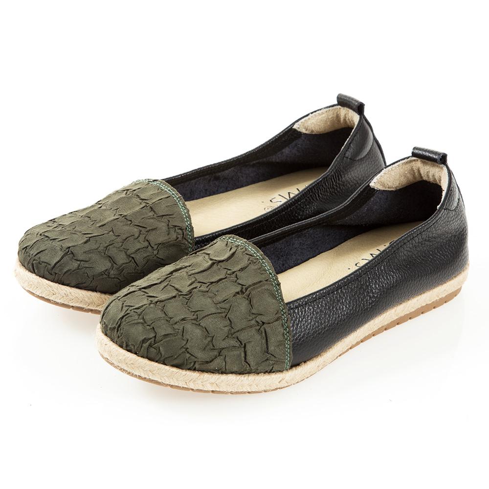 G.Ms. MIT系列-拚接麻編懶人休閒便鞋-麂絨綠