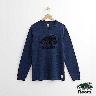 Roots 男裝-庫柏海狸長袖T恤-藍色