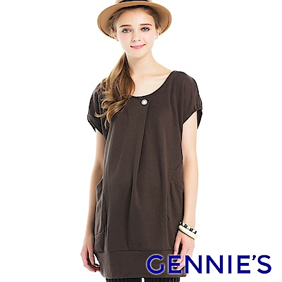 Gennies專櫃-假鈕扣造型長版衣(咖啡)C3A72
