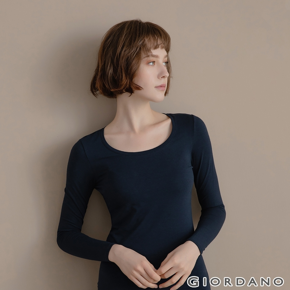 GIORDANO 女裝G-WARMER PLUS+圓領極暖衣 - 03 標誌海軍藍