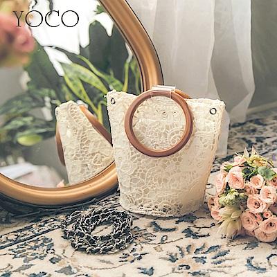 東京著衣-yoco 小香宮廷風蕾絲編織圓炳水桶包包(共一色)