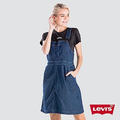 Levis 女款 吊帶連身裙 高腰打摺設計 裙身雙口袋