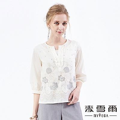 【麥雪爾】純棉花朵刺繡荷葉水鑽上衣