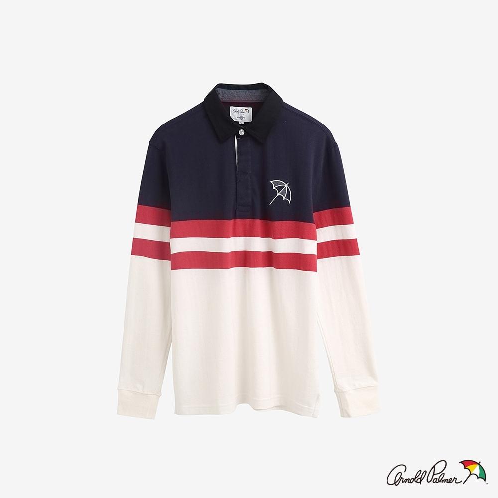 Arnold Palmer -男裝-色塊條紋橄欖球Polo衫-白