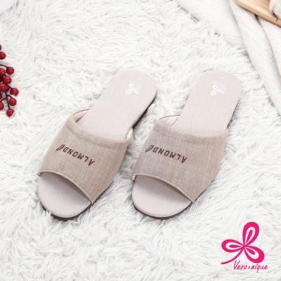 維諾妮卡 和風素色冰咖啡紗室內拖鞋-卡其