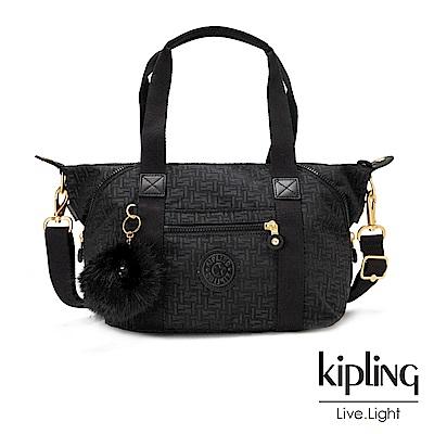 Kipling黑色幾何紋路手提側背包-ART MINI