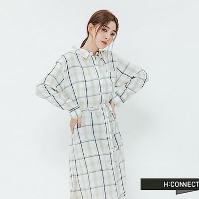 H:CONNECT 韓國品牌 女裝-格紋綁繩襯衫洋裝-卡其