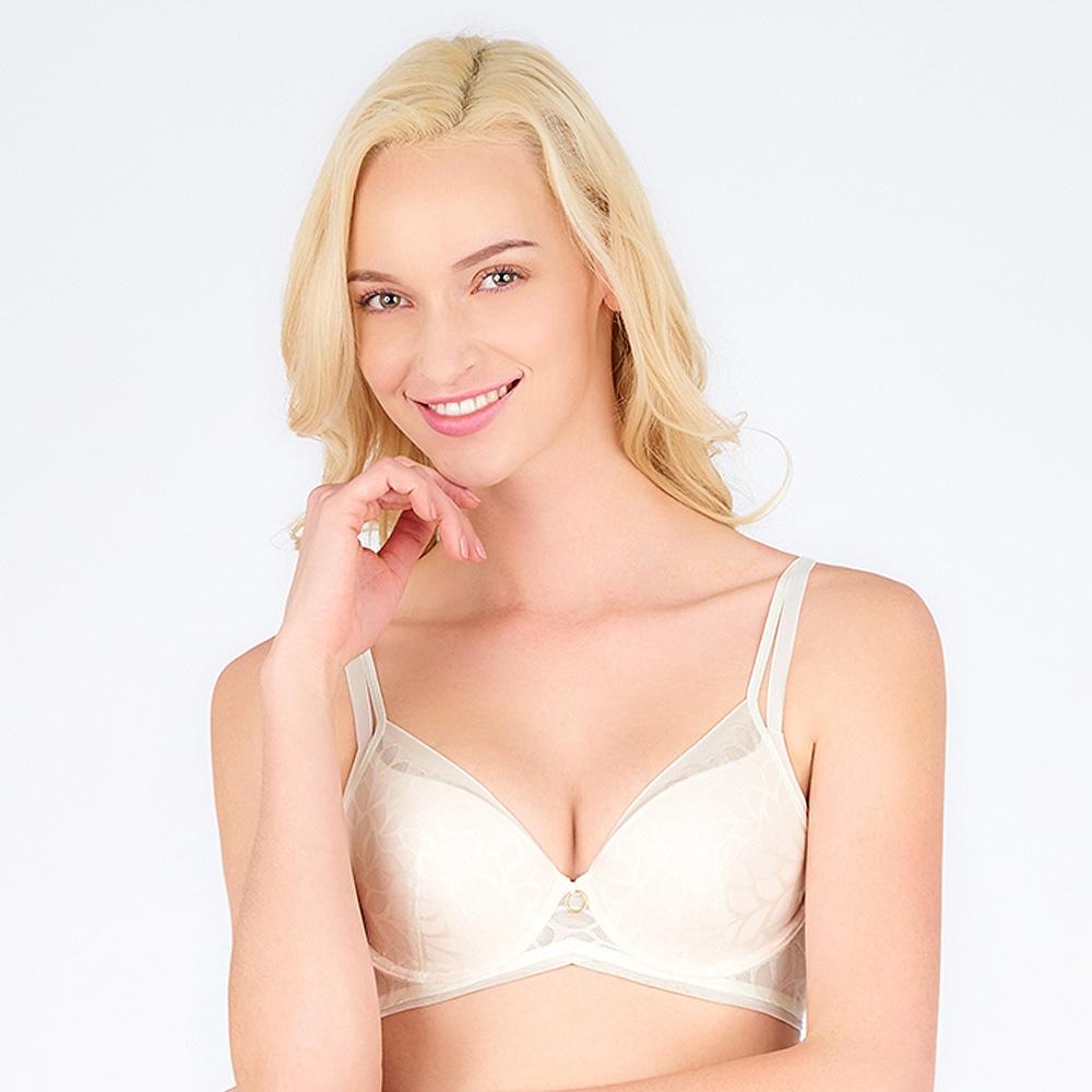 黛安芬-Premium閃耀純粹系列 3D空氣棉緹花無痕透氣 B-D罩杯內衣 典雅白