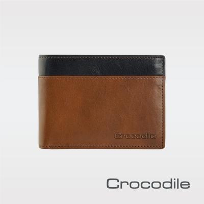 Crocodile鱷魚皮件 真皮皮夾 Naturale 3.0系列 10卡 雙鈔票 拉鍊短夾 男夾-0103-09505-咖啡色-原廠公司貨