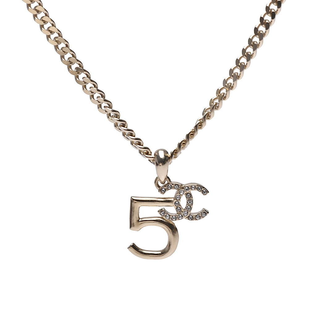 CHANEL 經典NO.5雙C LOGO水鑽鑲飾造型項鍊(金)