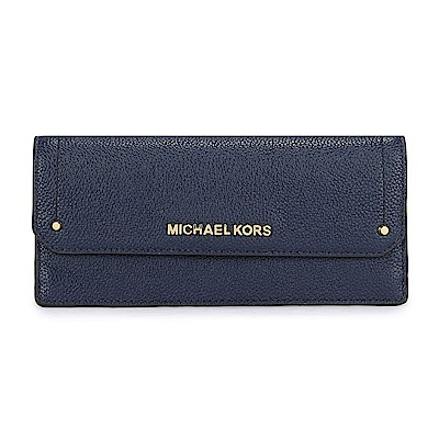 MICHAEL KORS HAYES 金LOGO荔枝紋皮革信封式壓釦長夾-深藍色