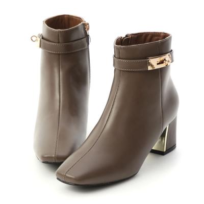 D+AF 貴族風尚.質感鎖釦金屬跟短靴*棕