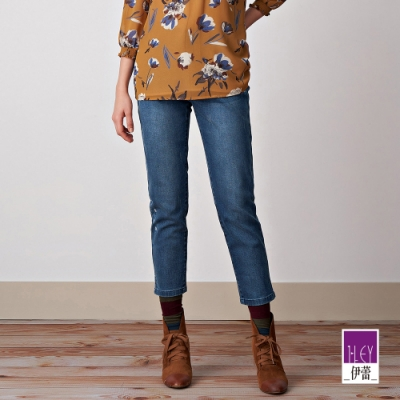 ILEY伊蕾 刺繡圖紋微彈窄管牛仔褲(藍)