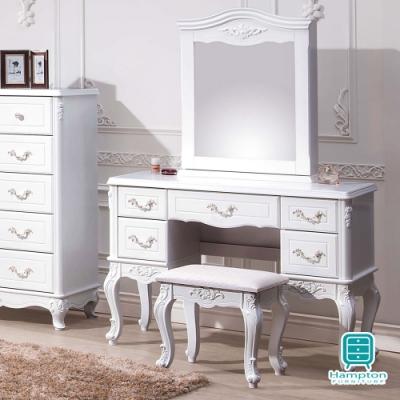 漢妮Hampton莎碧娜歐風3.5尺高腳化妝鏡台桌椅組-105x43x155cm
