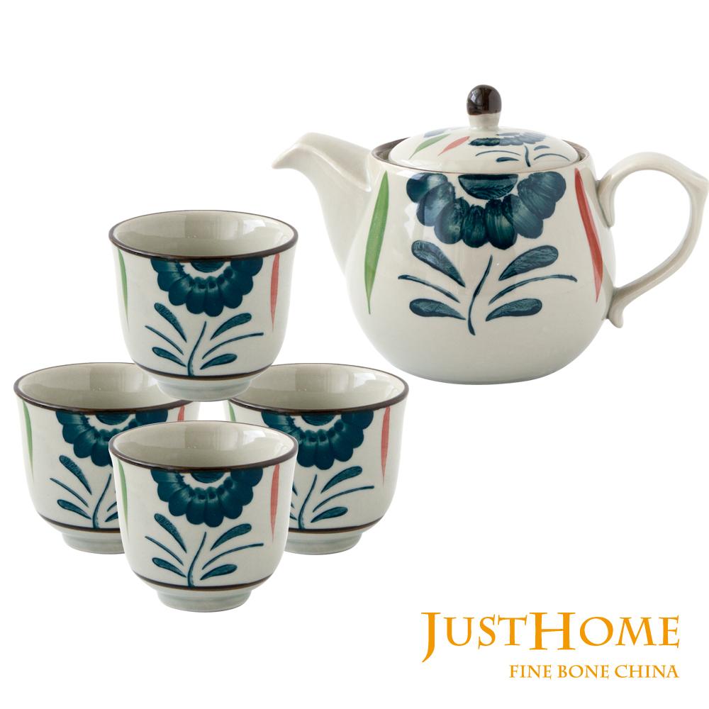 Just Home日式彩藤花陶瓷茶具5件組 (1壺+4杯)