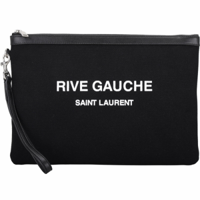 YSL Saint Laurent Rive Gauche 字母帆布大型手拿包(黑色)