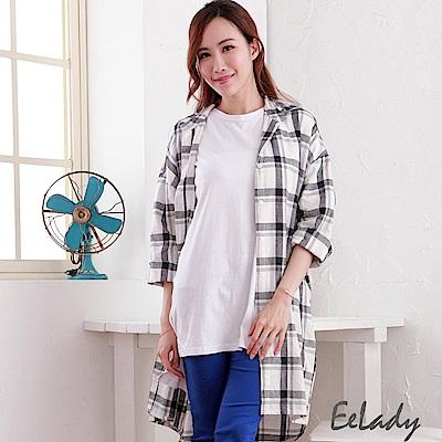 EELADY-經典長版格紋襯衫-藍
