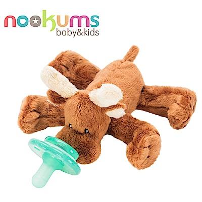 美國 nookums 寶寶可愛造型搖鈴安撫奶嘴/玩偶-小麋鹿
