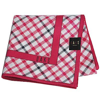 DAKS 經典品牌格紋字母LOGO大帕領巾(桃紅色系)