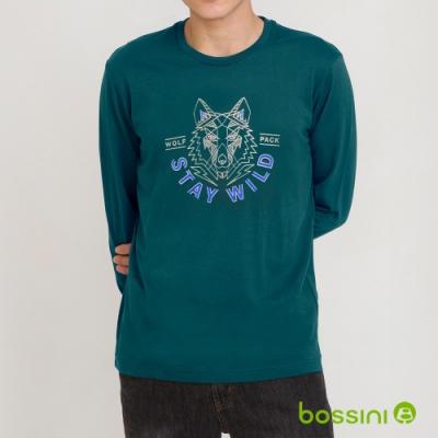 bossini男裝-印花長袖T恤08綠