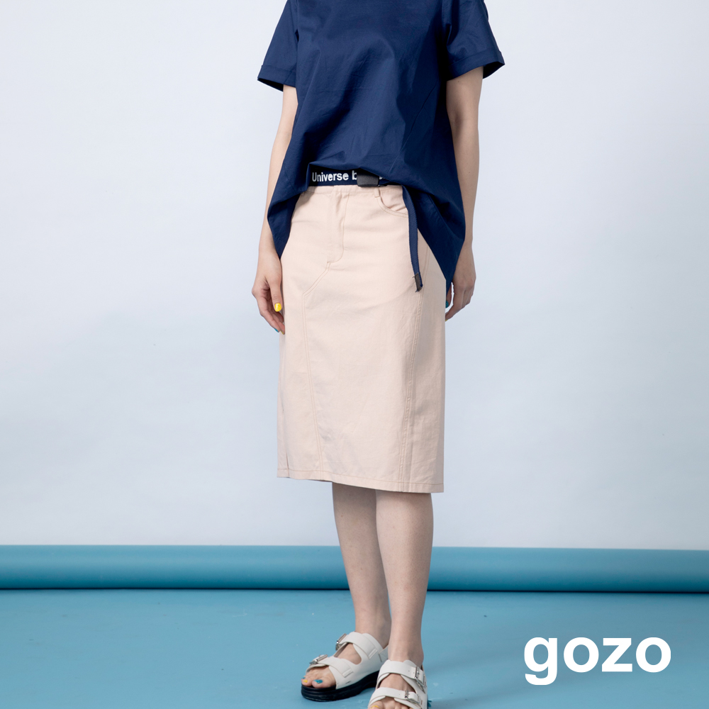 gozo 造型粗壓線側開岔A字膝下裙(二色) product image 1