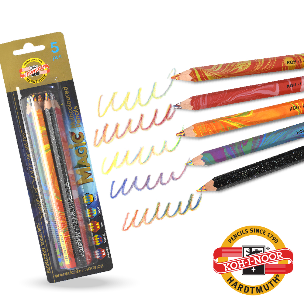 KOH-I-NOOR HARDTMUTH ★光之山★六角彩虹魔術色鉛筆。 5入組 捷克原裝