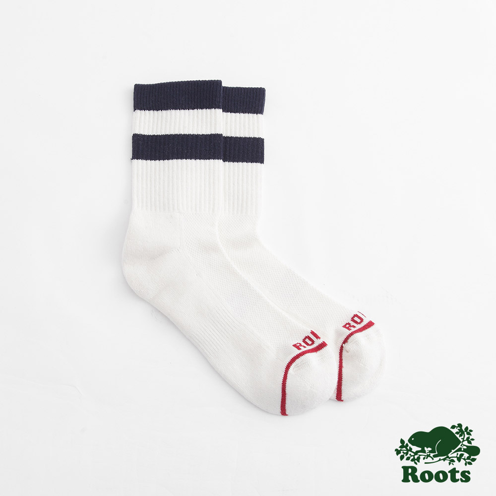 Roots配件- 經典條紋運動短襪 (男)-白
