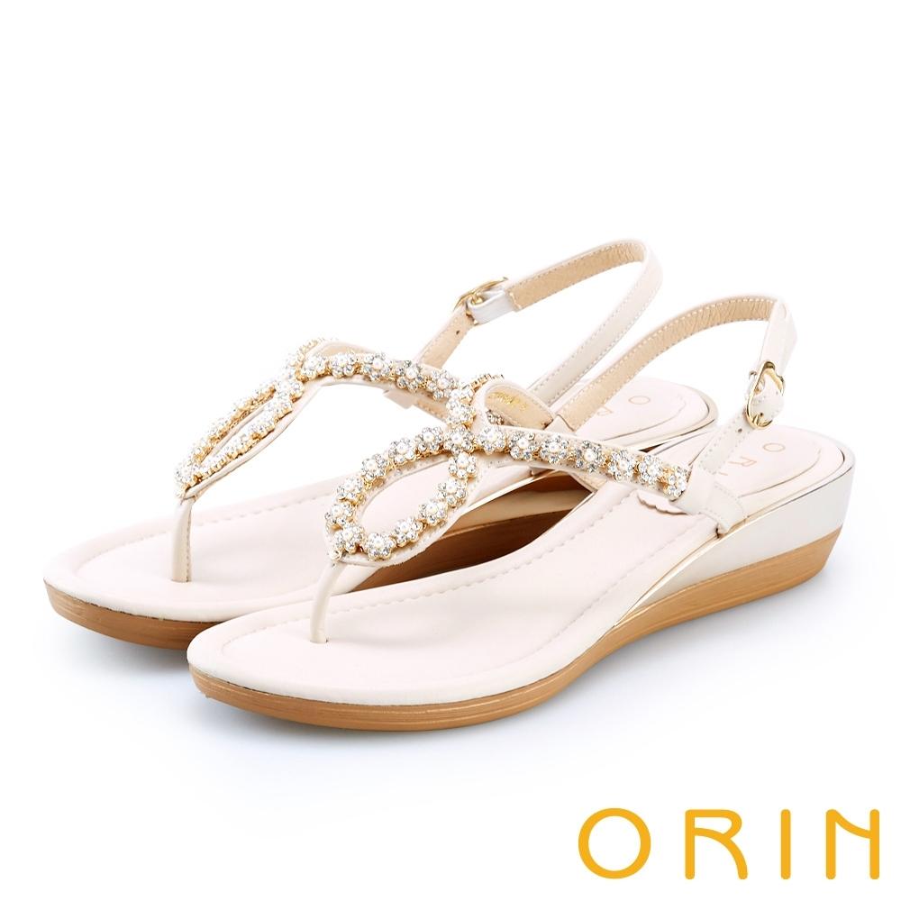 ORIN 花朵造型鑽飾牛皮夾腳 女 涼鞋 杏色