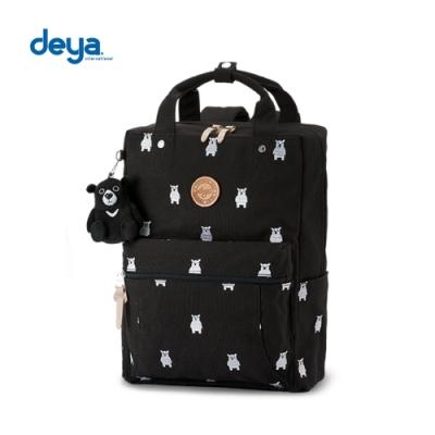 deya 熊森林系刺繡帆布大後背包-黑