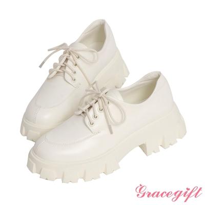 Grace gift-率性輕量鋸齒厚底牛津鞋 白