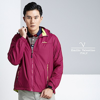 Emilio Valentino 質感休閒防風外套_紫紅(22-8K1259)
