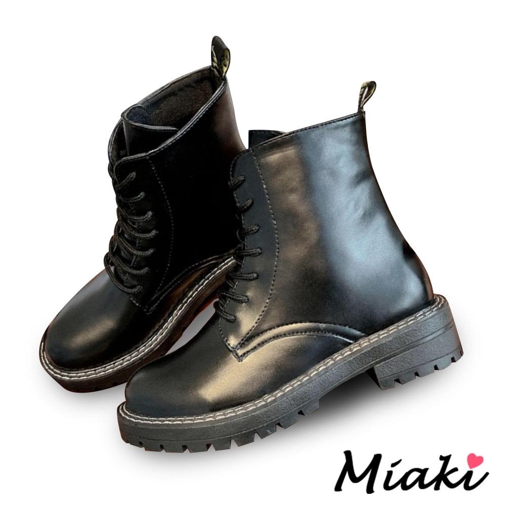 Miaki-短靴穿搭個性圓頭馬丁靴-黑