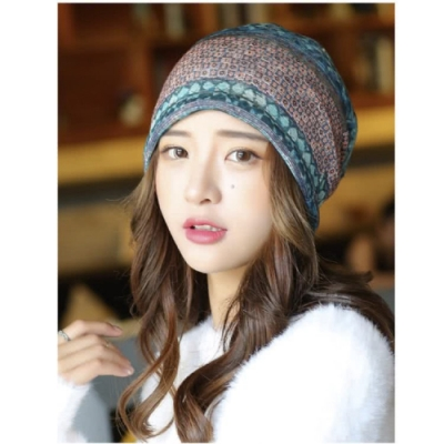 【89 zone】法式優雅薄款透氣套頭防風/頭巾帽(小方格綠)