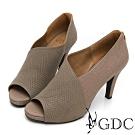 GDC-真皮拼接設計感都會魚口跟鞋-灰色