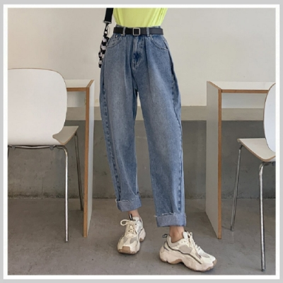 牛仔褲 高腰刷白牛仔直筒九分褲RZ0080-創翊韓都