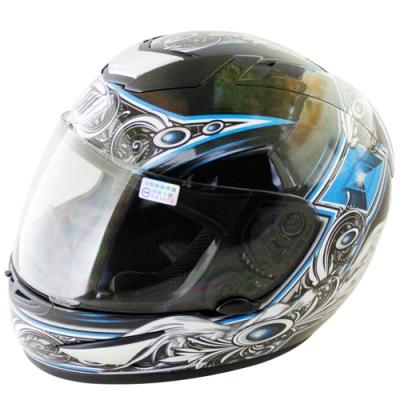 翅膀可掀式全罩安全帽TS41A-黑藍+新一代免洗安全帽內襯套6入-快