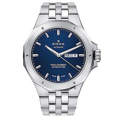 EDOX Delfin 海豚系列 專業200米日曆機械錶-藍x銀/43mm