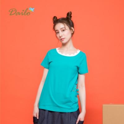 【Dailo】拼色特殊領口短袖-上衣(二色)