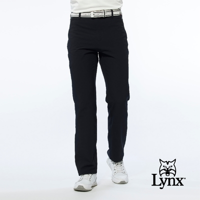 【Lynx Golf】男款潑水功能隱形拉鍊款腿袋設計平口休閒長褲-黑色