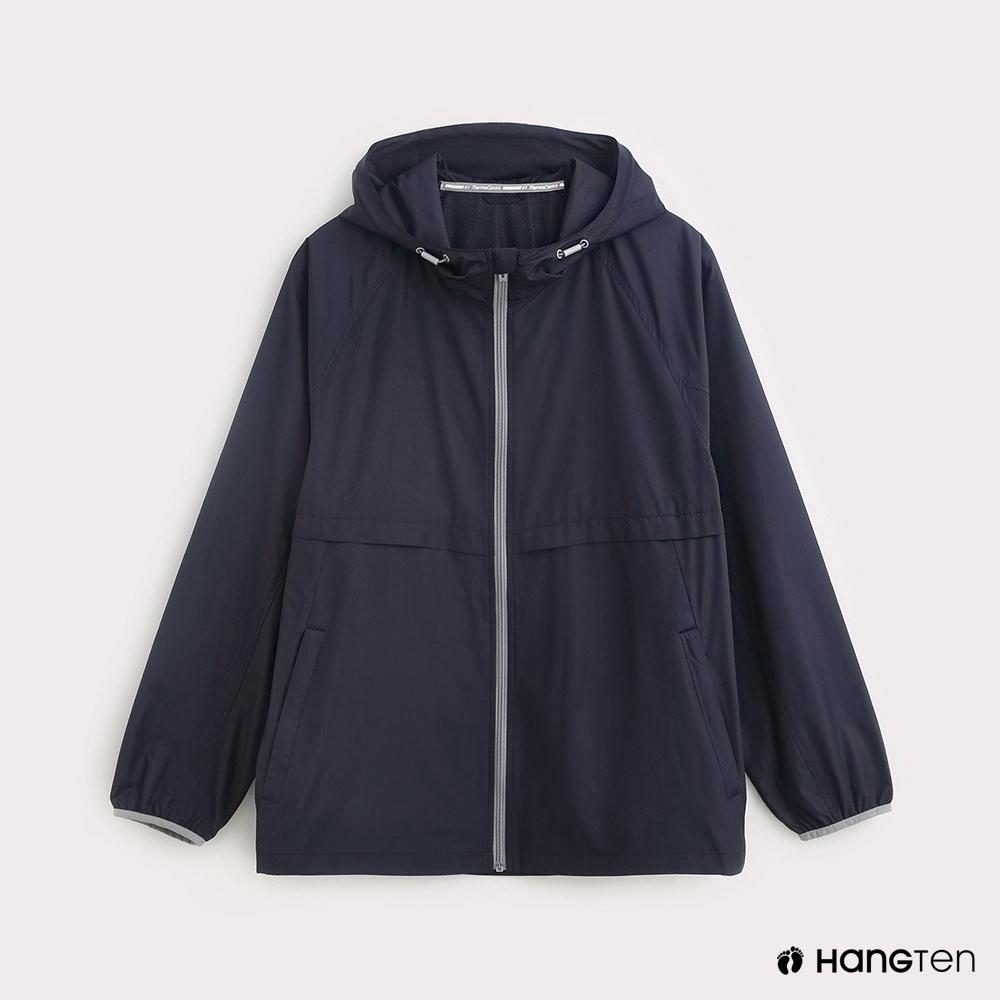 Hang Ten-ThermoContro-男裝薄夾克收納風衣外套-藍