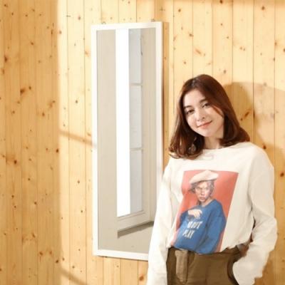 佳美 質感空間造型純白壁掛鏡(1入)化妝鏡 長鏡 壁鏡 掛鏡