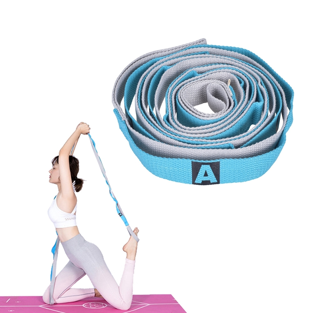 Leader X 免調節分隔瑜珈繩 伸展繩 拉筋帶 粉藍 - 急