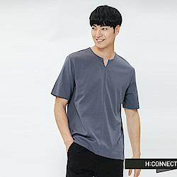 H:CONNECT 韓國品牌 男裝-小開岔素面上衣-藍