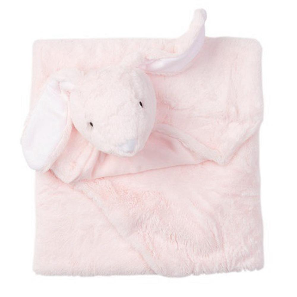 美國Quiltex 超柔軟動物嬰兒毯安撫毯 - 粉長耳兔