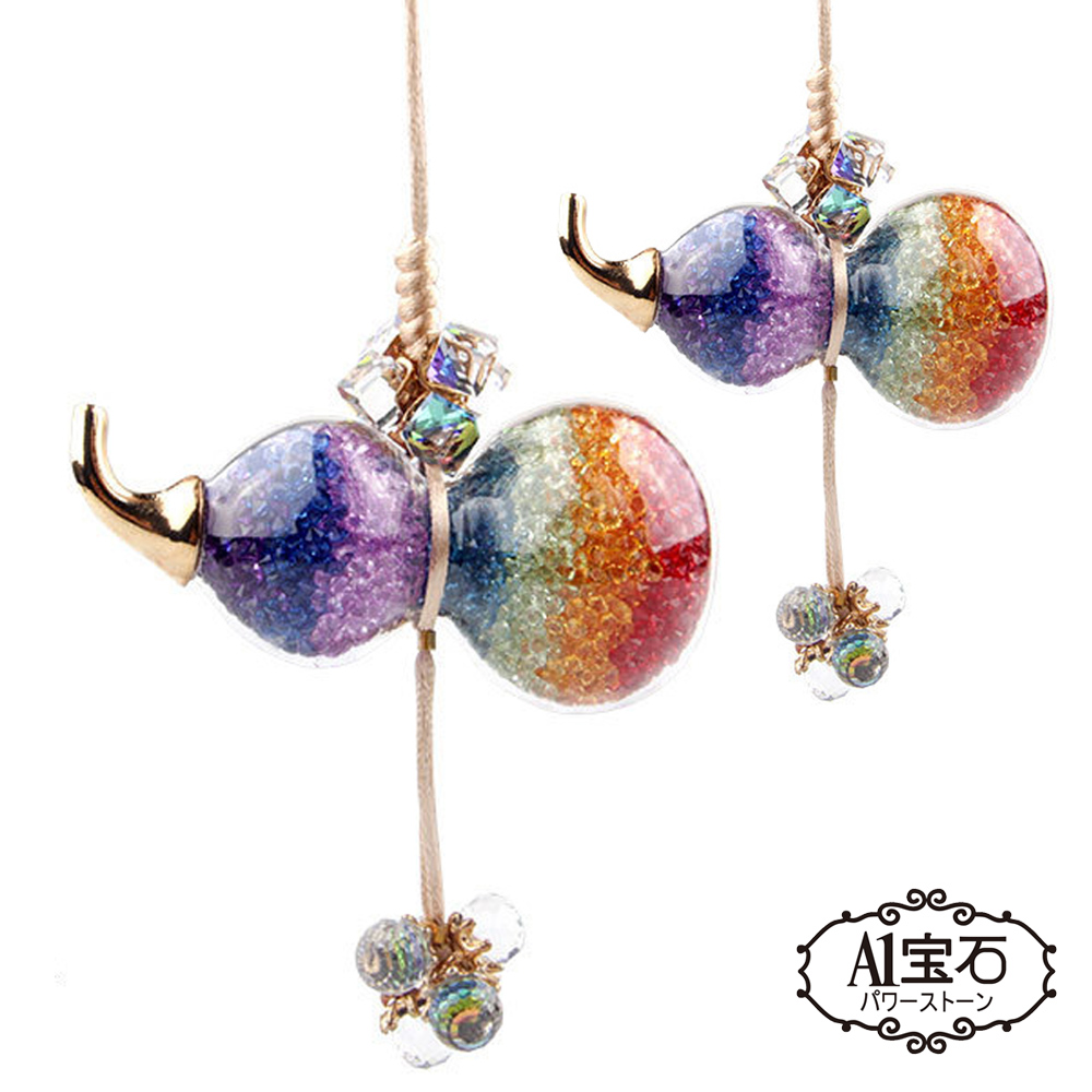 A1寶石-超值2入組  七脈輪晶鑽水晶化煞葫蘆開運風水掛飾(加贈開運錢母-含開光) @ Y!購物